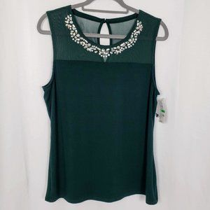NWT INC Green Sleeveless Dressy Top